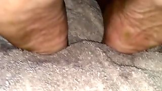 Sexy Ebony Oliy Wrinkled Soles and Pretty Red Toe's Again