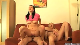 Guy having naughty time with granny and younger hottie